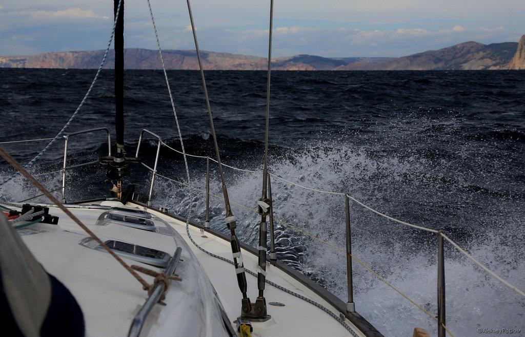 Sailing yacht. Black Sea. Crimea